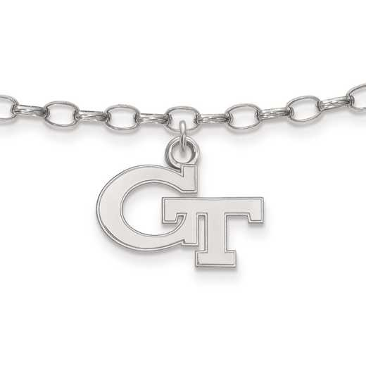 SS024GT: Sterling Silver LogoArt Georgia InstituteofTechnology Anklet