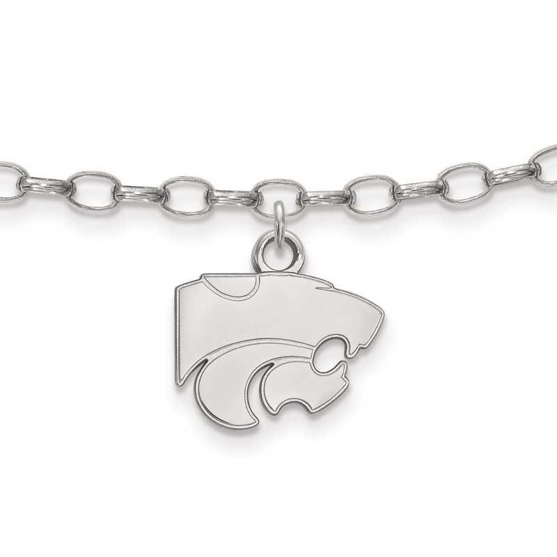 SS030KSU: Sterling Silver LogoArt Kansas State University Anklet