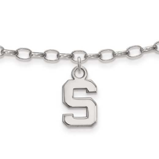 SS030MIS: Sterling Silver LogoArt Michigan State University Anklet