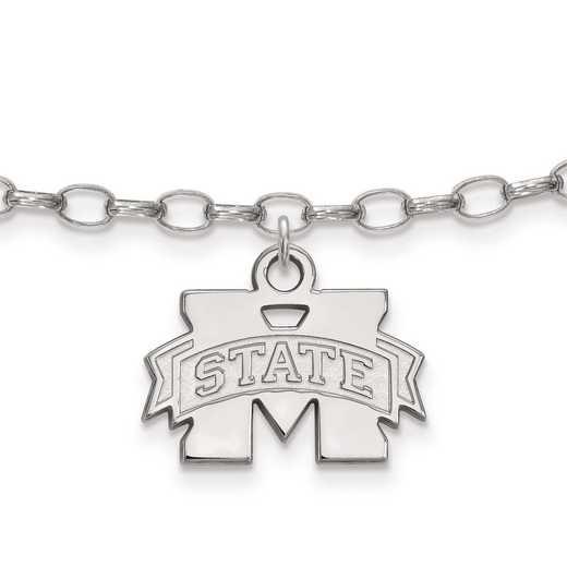 SS030MSS: Sterling Silver LogoArt Mississippi State University Anklet