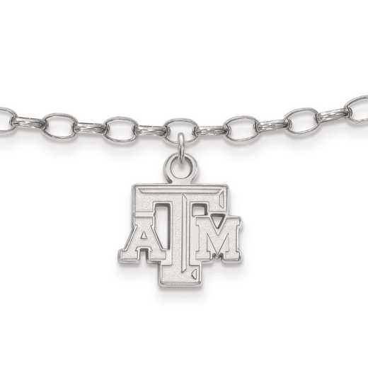 SS024TAM: Sterling Silver LogoArt Texas A&M University Anklet