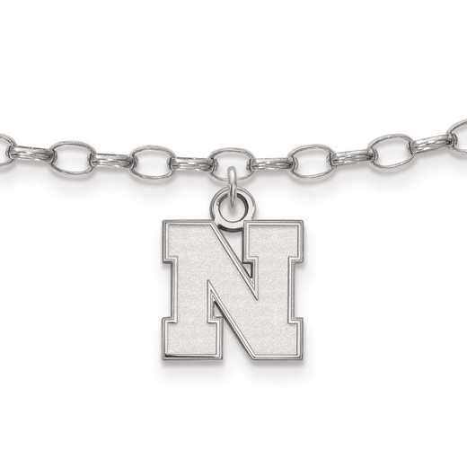 SS065UNE: Sterling Silver LogoArt University of Nebraska XS Anklet