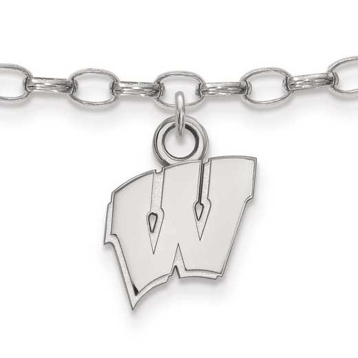 SS030UWI: Sterling Silver LogoArt University of Wisconsin Anklet