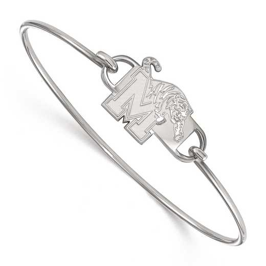 SS015UMP-7: SS LogoArt Univ of Memphis SML Ctr Wire Bangle