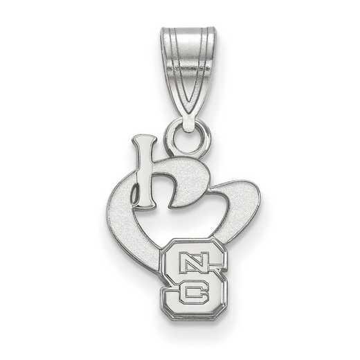 SS019NCS: SS LogoArt North Carolina State U SML I Love Logo Pendant