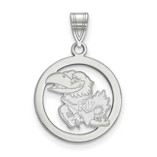 SS029UKS: SS LogoArt Univ of Kansas Sm Pendant in Circle