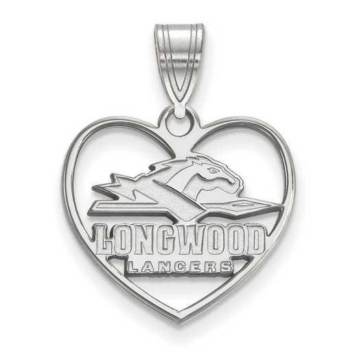 SS012LOC: SS LogoArt Longwood Univ Pendant in Heart