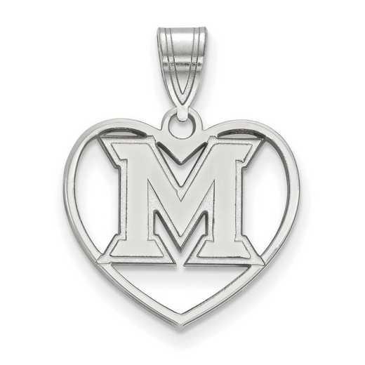 SS013MU: SS LogoArt Miami Univ Pendant in Heart
