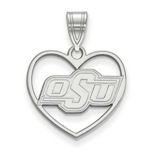 SS016OKS: SS LogoArt Oklahoma State Univ Pendant in Heart