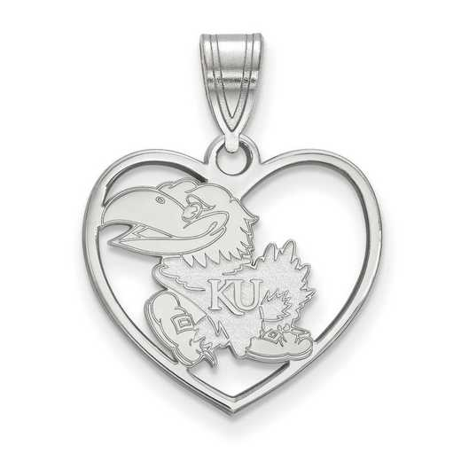 SS013UKS: SS LogoArt Univ of Kansas Pendant in Heart