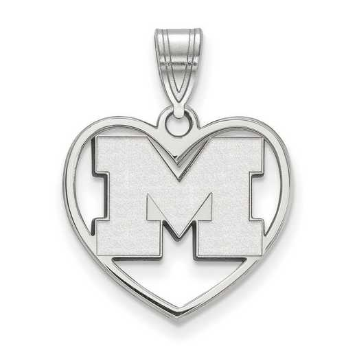 SS018UM: SS LogoArt Michigan (Univ Of) Pendant in Heart