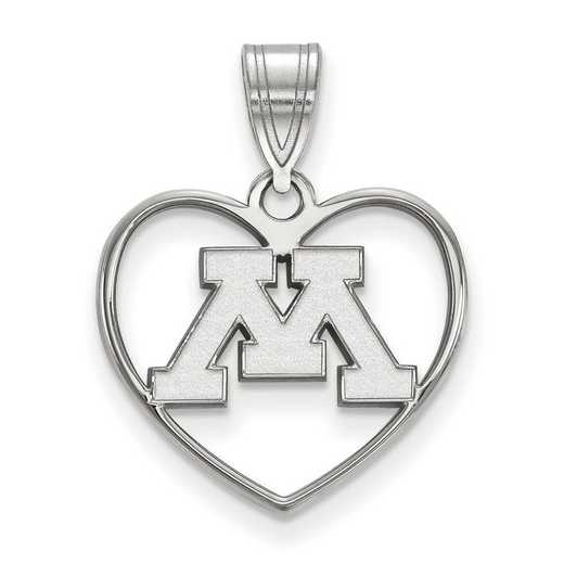 SS013UMN: SS LogoArt Univ of Minnesota Pendant in Heart