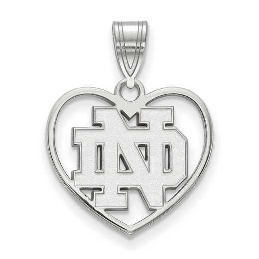 SS018UND: SS LogoArt Univ of Notre Dame inside Heart Pendant