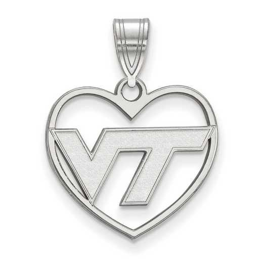 SS011VTE: SS LogoArt Virginia Tech Pendant in Heart