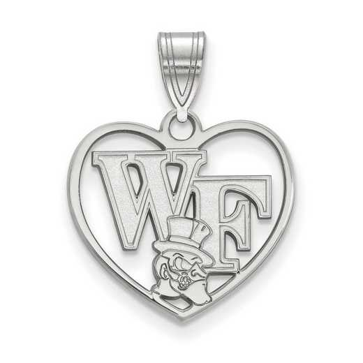 SS049WFU: SS LogoArt Wake Forest Univ Pendant in Heart