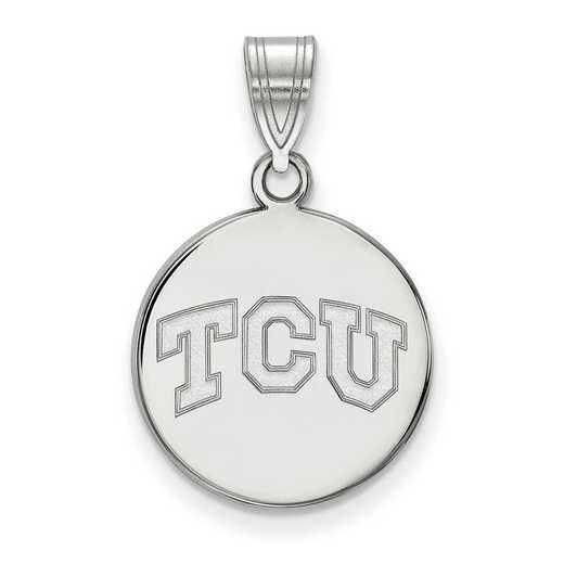 SS037TCU: SS LogoArt Texas Christian Univ Medium Disc Pendant
