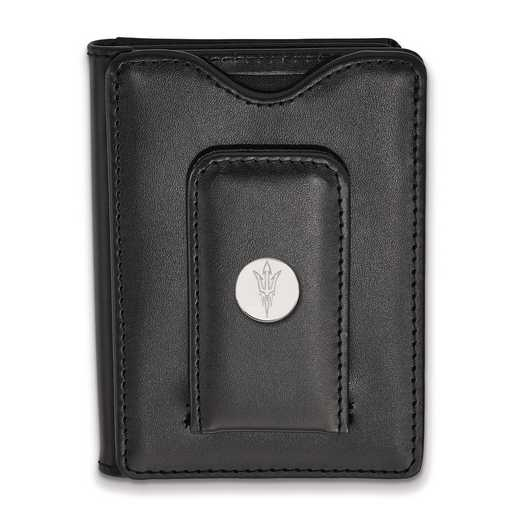 SS058AZS-W1: SS LogoArt Arizona State Univ Blk Leather Money Clip Wallet