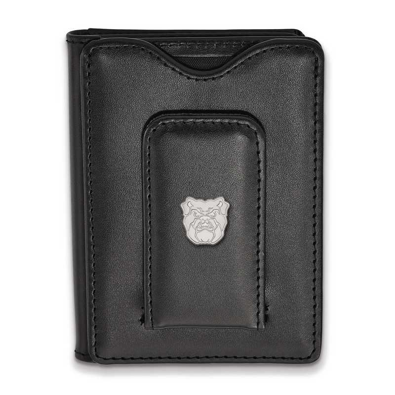 SS012BUT-W1: SS LogoArt Butler Univ Blk Leather Money Clip Wallet