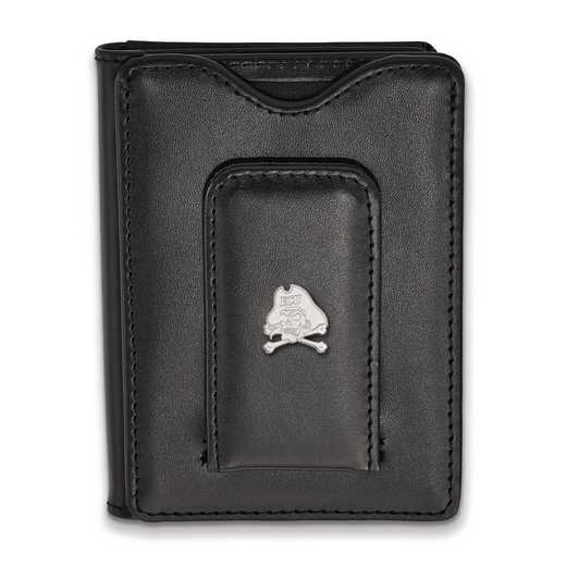 SS061ECU-W1: SS LogoArt East Carolina Univ Blk Leather Wallet