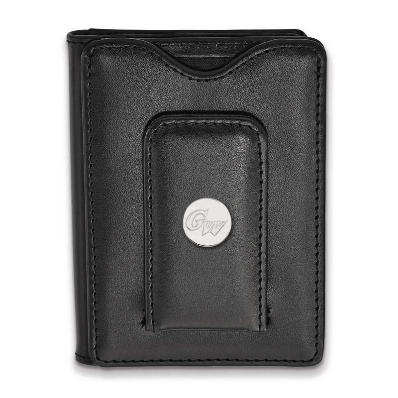 SS011GWU-W1: SS LogoArt George Washington Unv Blk Leather MoneyClipWallet