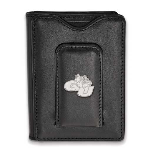 SS010GON-W1: SS LogoArt Gonzaga Univ Blk Leather Money Clip Wallet