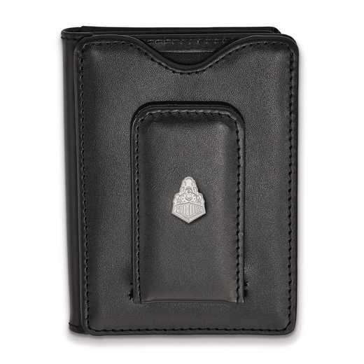 SS048PU-W1: SS LogoArt Purdue Blk Leather Money Clip Wallet