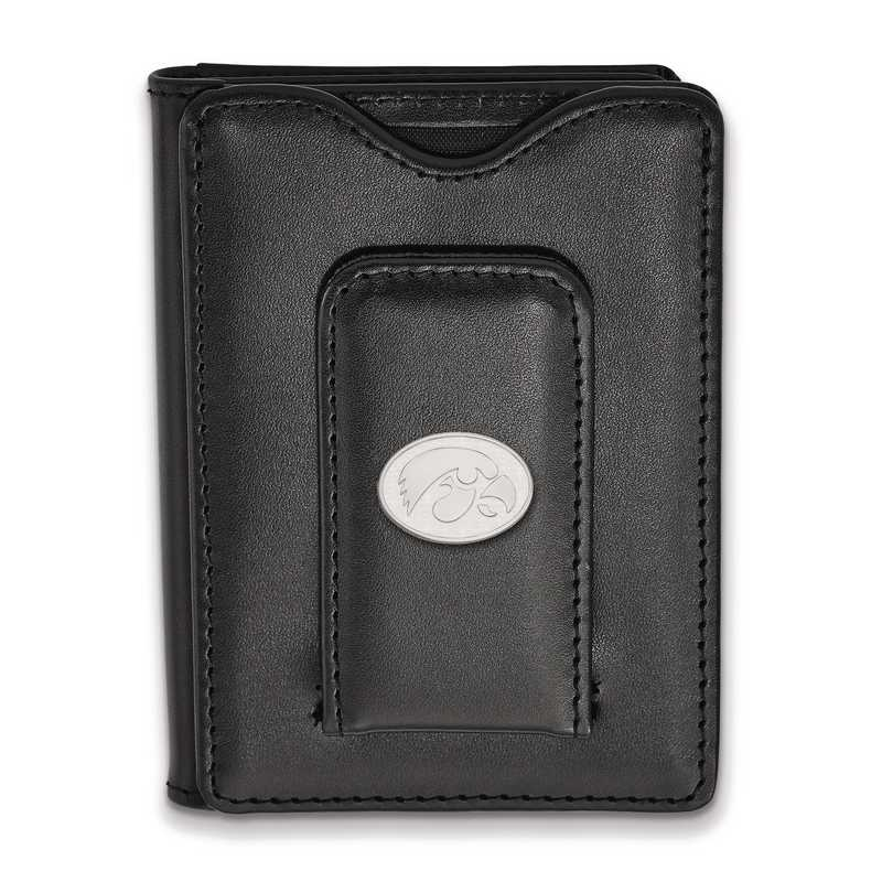 SS089UIA-W1: SS LogoArt Univ of Iowa Blk Leather Money Clip Wallet