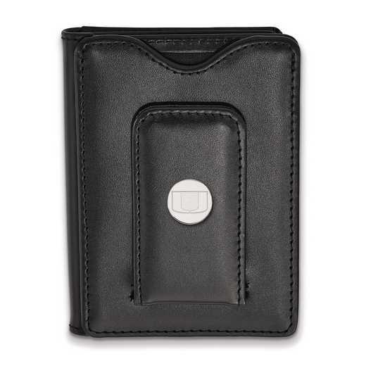 SS013UMF-W1: SS LogoArt Univ of Miami Blk Leather Money Clip Wallet