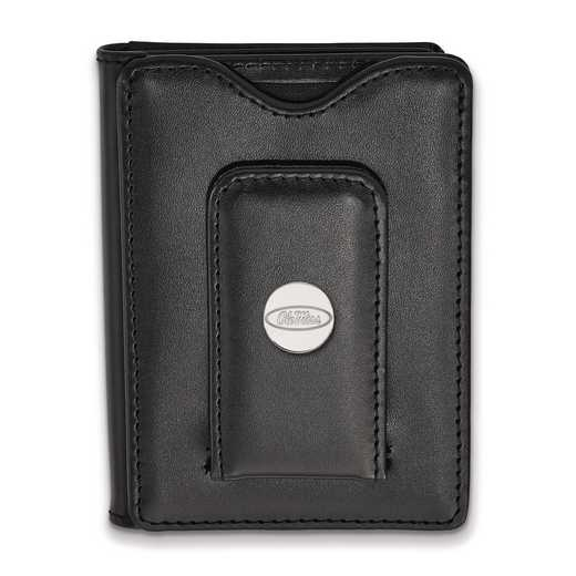 SS013UMS-W1: SS LogoArt Univ of Mississippi Blk Leather Wallet