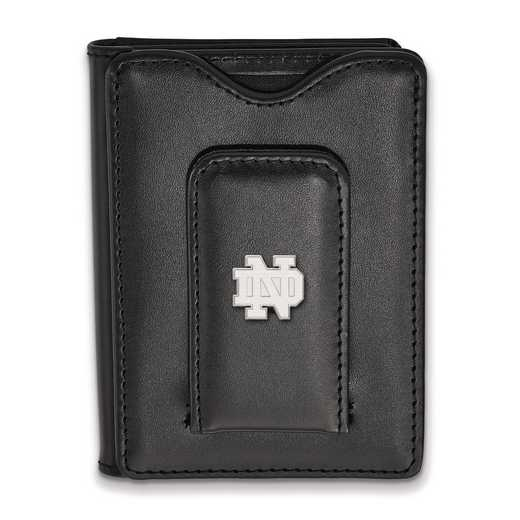 SS012UND-W1: SS LogoArt Notre Dame Blk Leather Money Clip Wallet