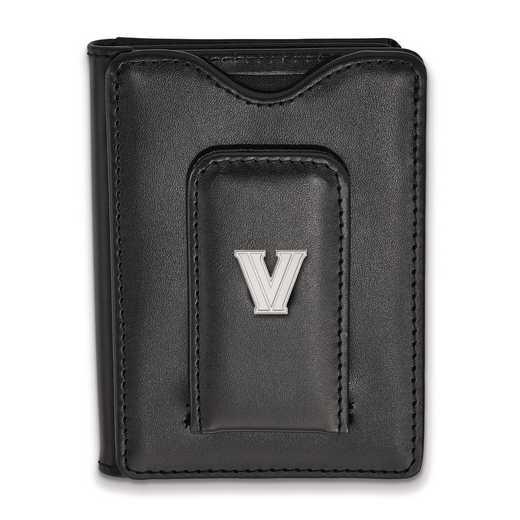 SS048VIL-W1: SS LogoArt Villanova Univ Blk Leather Money Clip Wallet