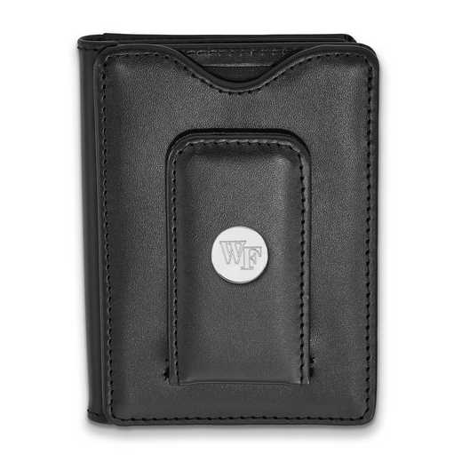 SS070WFU-W1: SS LogoArt Wake Forest Univ Blk Leather Wallet