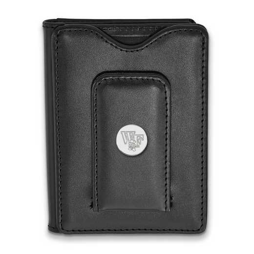 SS074WFU-W1: SS LogoArt Wake Forest Univ Blk Leather Wallet