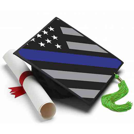 THINBLUELINE: Thin Blue Line Flag Grad Cap Tassel Topper
