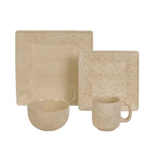 DI4001-OS-CR: HEA 16pc Savannah Dish Set, Cream