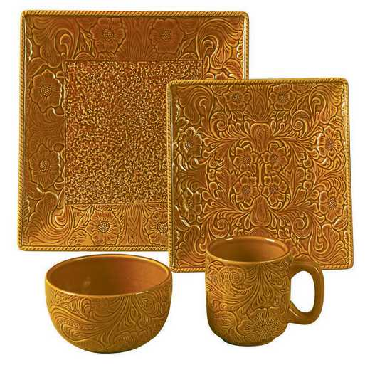 DI4001-OS-MS: HEA 16pc Savannah Dish Set - Mustard