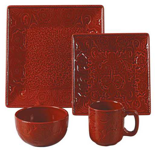 DI4001-OS-RD: HEA 16pc Savannah Dish Set, Red