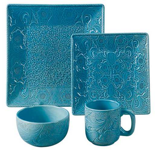 DI4001-OS-TQ: HEA 16pc Savannah Dish Set, Turqupise