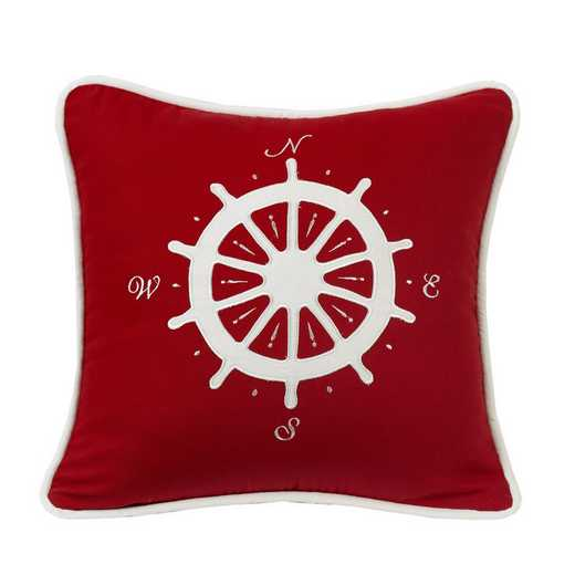 LK1682P1: HEA St. Clair Red Pillow with Compass - 18x18