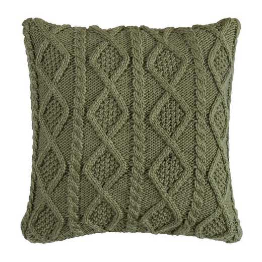 PL5002-OS-GR: HEA Cable Knit Pillow 18x18, Green