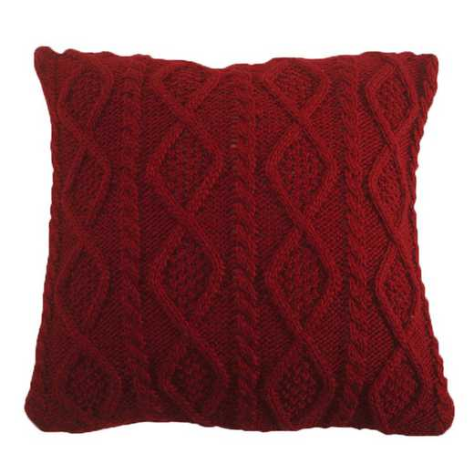 PL5002-OS-RD: HEA Cable Knit Pillow 18x18 - Red