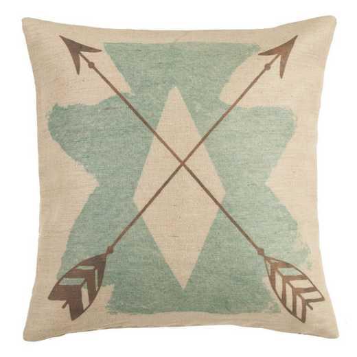 PL1814: HEA Burlap Turquoise Axtec Pillow, 18x18
