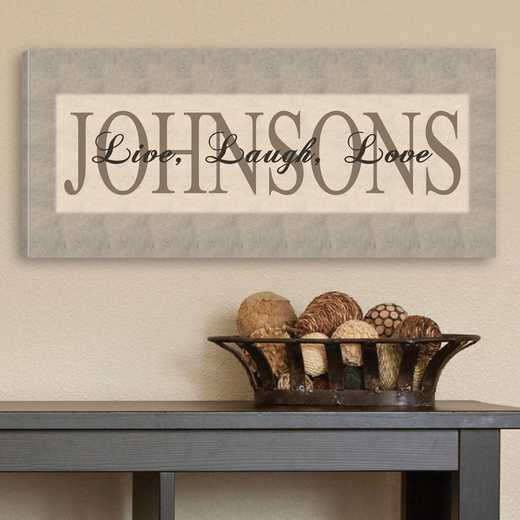 CA0010: JDS LIVE LAUGH LOVE GREY CANVAS SIGN- PERS