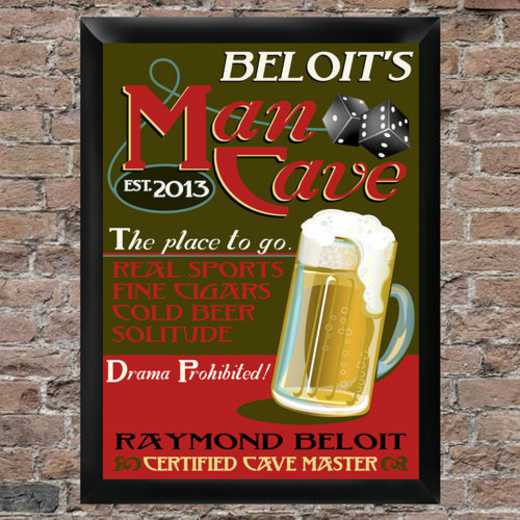 GC268 MANCAVE: JDS MANCAVE FRAMED SIGN- PERS