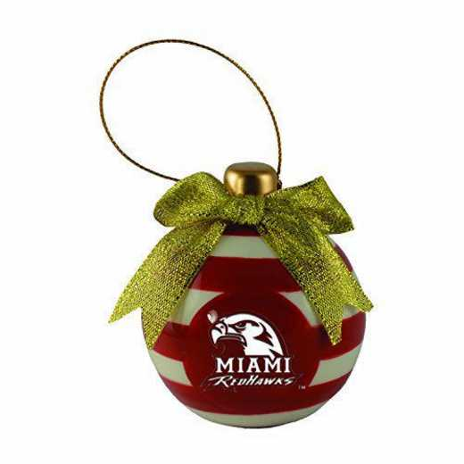 CER-4022-MIAMIU-LRG: LXG CERAMIC BALL ORN, Miami Of Ohio