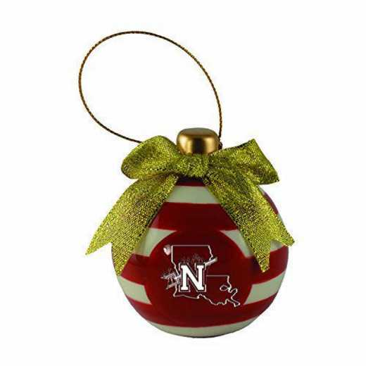 CER-4022-NWSTNST-LEAR: LXG CERAMIC BALL ORN, Northwestern State