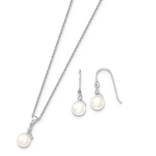 QH5188SET: Sterling Silver7-8mm White FWC Pearl CZ Neck & Earring Set