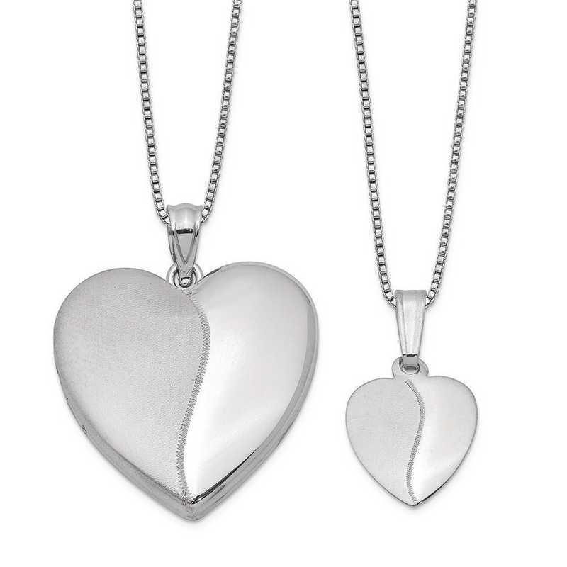 9499c1dc96f Sterling Silver Rhodium-plated Polished and Satin Heart Locket and ...