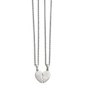 SRSET29-20: Stainless Steel Polished 1/2 Heart Necklace Set