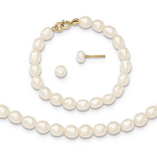 "XF401SET: 14k White FWC Pearl 12"" Necklace - 4"""" Bracelet & Earring Set"
